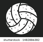 volleyball distressed icon on...