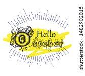 hello october vector template.... | Shutterstock .eps vector #1482902015