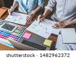 team of creative web graphic... | Shutterstock . vector #1482962372