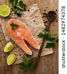Raw Salmon Steaks And...