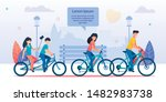 happy family cycling together... | Shutterstock .eps vector #1482983738