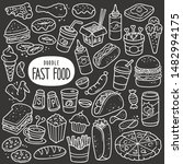 fast food doodle drawing... | Shutterstock .eps vector #1482994175