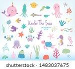Cute Cartoon Sea Animals And...