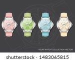 realistic clock watch... | Shutterstock .eps vector #1483065815