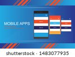 mobile app android flat...