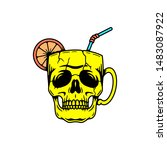 skull cup cocktail color white... | Shutterstock .eps vector #1483087922