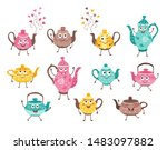 funny and cute teapot... | Shutterstock .eps vector #1483097882