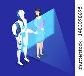 business concept. work wih data ...   Shutterstock . vector #1483098695