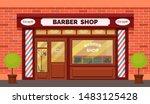 vintage barber shop store...   Shutterstock .eps vector #1483125428