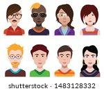 people avatars. vector women ... | Shutterstock .eps vector #1483128332