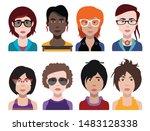 people avatars. vector women ... | Shutterstock .eps vector #1483128338