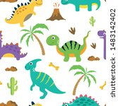 cute dinosaur seamless pattern. ... | Shutterstock .eps vector #1483142402