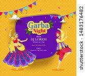creative garba night poster or...   Shutterstock .eps vector #1483176482