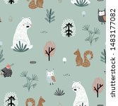 seamless childish pattern with... | Shutterstock .eps vector #1483177082