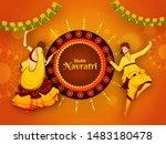 shubh navratri festival... | Shutterstock .eps vector #1483180478