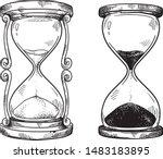 set of 2 vintage hourglasses... | Shutterstock .eps vector #1483183895