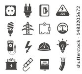 Electricity Glyph Icons Set....
