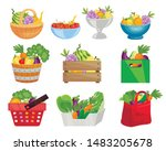 fruits and vegetables in... | Shutterstock .eps vector #1483205678