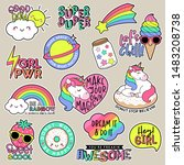 set of fashion patches  cute... | Shutterstock .eps vector #1483208738