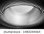 Small photo of Black and white color and tone, Close up detail of circular architectural shape with woven pattern aluminium panel facade and a big hole on the centre. Messe Basel in Switzerland.