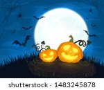 Two Happy Pumpkins And Moon On...