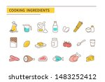 cooking ingredients icons.... | Shutterstock .eps vector #1483252412
