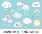 pastel rainbow set with cloud... | Shutterstock .eps vector #1483256642