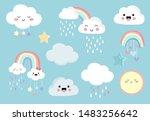 pastel rainbow set with cloud... | Shutterstock .eps vector #1483256642