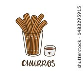 churros with chocolate. churros ... | Shutterstock .eps vector #1483295915