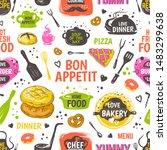 doodle food pattern. menu...   Shutterstock . vector #1483299638