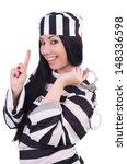 prisoner in striped uniform on... | Shutterstock . vector #148336598