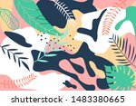 seamless tropical pattern.... | Shutterstock .eps vector #1483380665