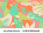 seamless tropical pattern.... | Shutterstock .eps vector #1483380668