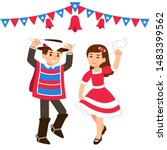 cute cartoon children dancing...   Shutterstock .eps vector #1483399562