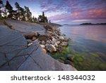 summer evening landscape with... | Shutterstock . vector #148344032
