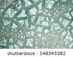 metal surface with old cracked turquoise paint - stock photo