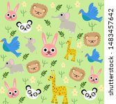 seamless pattern with animal.... | Shutterstock .eps vector #1483457642