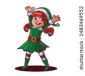 female elf cartoon for christmas | Shutterstock .eps vector #1483469552