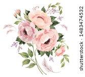watercolor sketch with hands on ... | Shutterstock . vector #1483474532