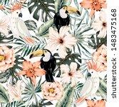 toucans  parrots  hibiscus ...   Shutterstock .eps vector #1483475168