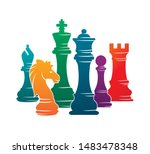 chess colorful figures pieces... | Shutterstock .eps vector #1483478348