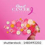 breast cancer awareness month... | Shutterstock .eps vector #1483492202