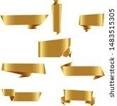 gold origami ribbon set... | Shutterstock .eps vector #1483515305