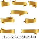gold origami ribbon set... | Shutterstock .eps vector #1483515308
