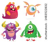 cute cartoon monsters. set of... | Shutterstock .eps vector #1483522832