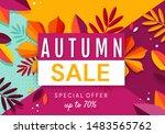 autumn sale banner background... | Shutterstock .eps vector #1483565762