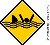 Caution Sharks Sign