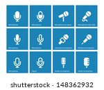 microphone icons on blue...