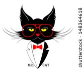 black cat in red glasses with... | Shutterstock .eps vector #148364618