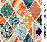 seamless mandalas tile pattern. ... | Shutterstock .eps vector #1483707722